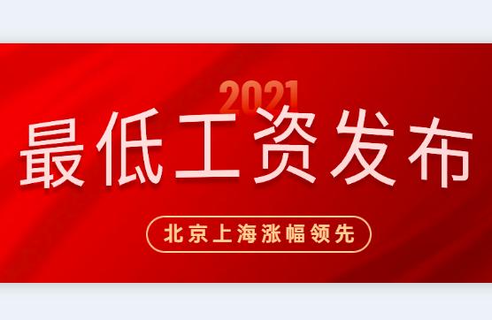 2021年全国31省市工资标准新鲜出炉,北京上海涨幅领先!